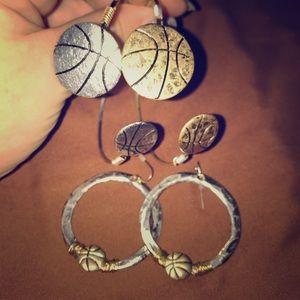 Basketball Jewelry set, bangle & earrings